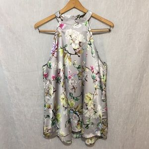 Staccato silky silver floral sleeveless blouse L